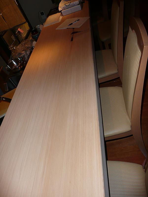 カウンター 場所:お茶屋 上七軒 素材:カンレイシャ貼+パテしごき+塗装(強化) W600×H75